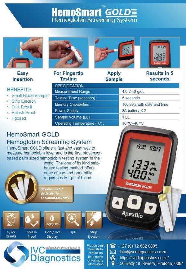 HemoSmart Gold Haemoglobin Screening_Spec sheet