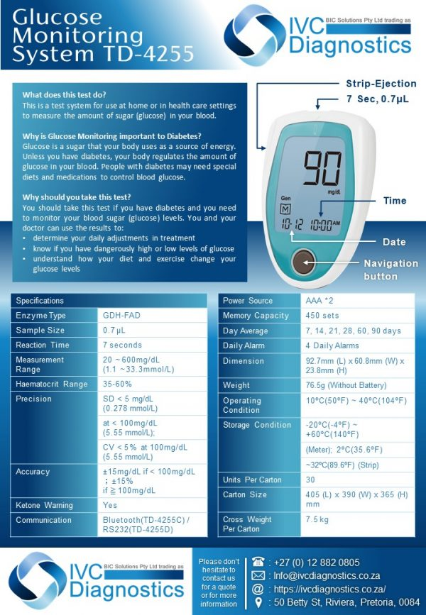 IVC Diagnostics_Blood Glucose Monitor TD-4255_Device Specifications
