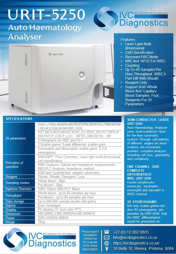 IVC Diagnostics_URIT 5250 Auto Haematology Analyser_Spec sheet