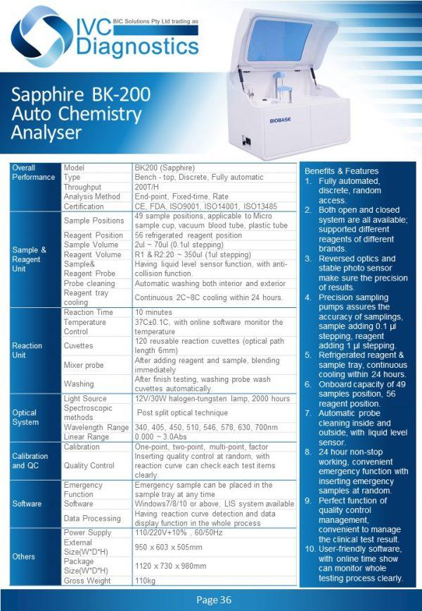 IVC Diagnostics_Sapphire BK-200 Auto Chemistry Analyser_Spec sheet