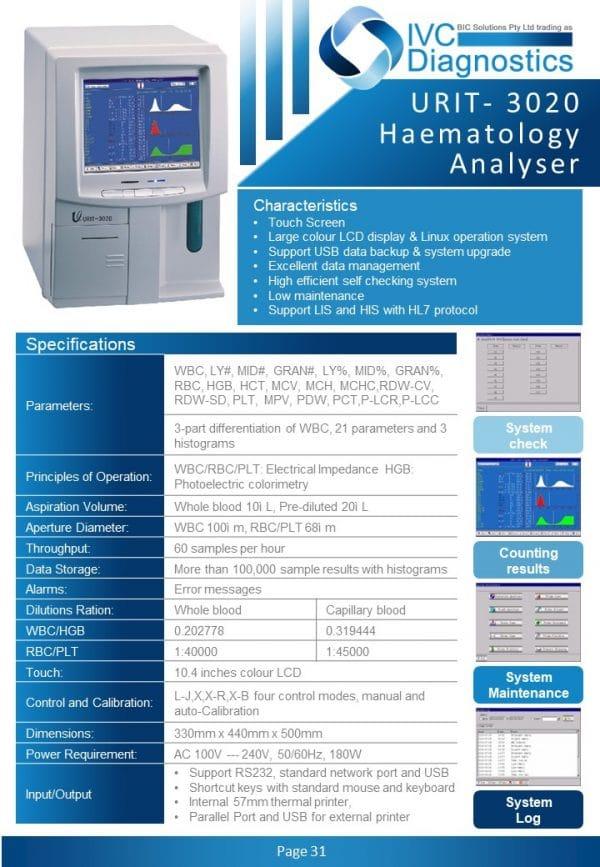 URIT 3020 Haematology_Spec sheet
