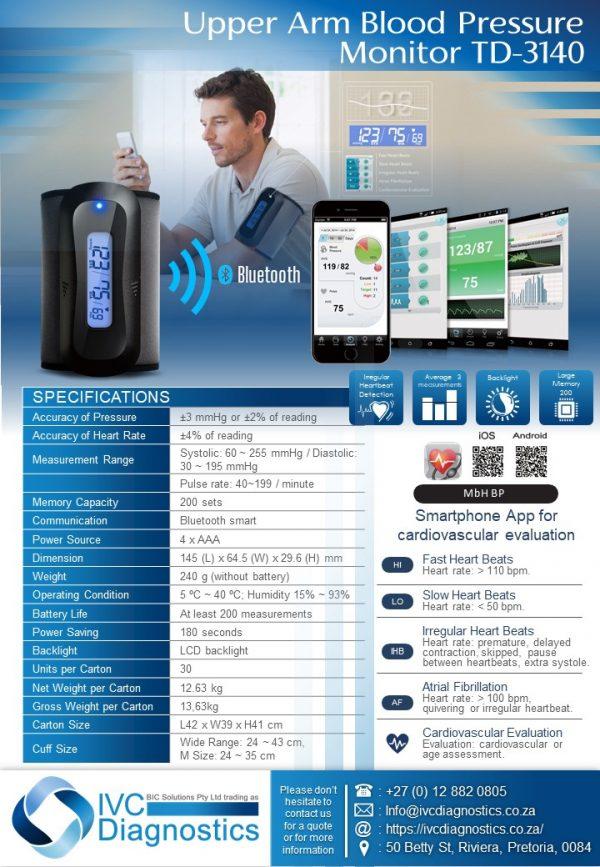 Upper Arm Blood Pressure Monitor TD-3140_Spec sheet