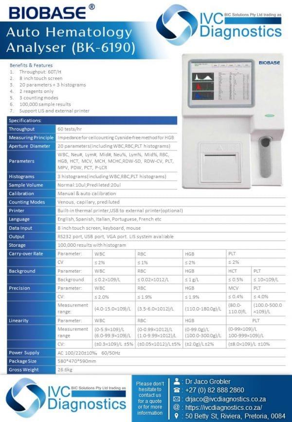 IVC Diagnostics-Auto Hematology Analyser BK-6190-Spec sheet